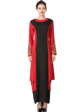 Ericdress Color Block Long Sleeve Fall Maxi Dress
