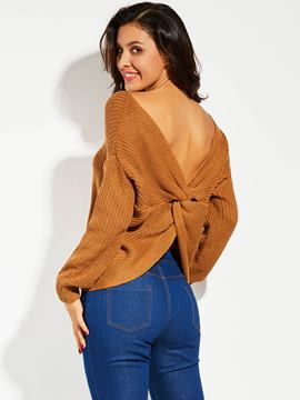 Ericdress Plain V-Neck Backless Sweater