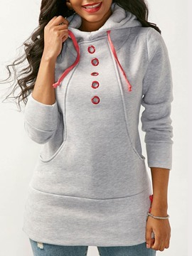Ericdress Slim Plain Pocket Thick Cool Hoodie