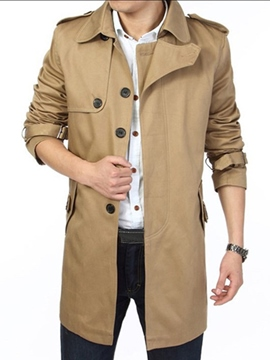 Ericdress Lapel Solid Color Mid-Length Men's Trench Coat