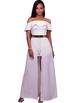 Ericdress White Slim Ruffles Women's Jumpsuit