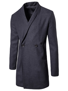 Ericdress Lapel Solid Color Double-Breasted Men's Trench Coat