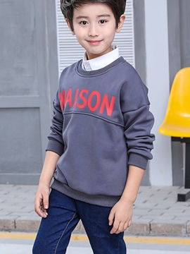 Ericdress Letter Print Round Neck Boy's Pullover