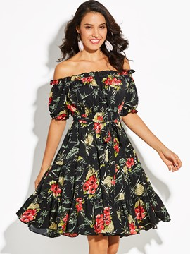 Ericdress Slash Neck Floral Print Women's A-Line Dress