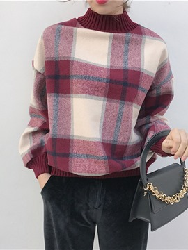 Ericdress Plaid Turtleneck Loose Sweater