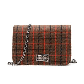 Ericdress Classical Plaid Lock Decoration Crossbody Bag