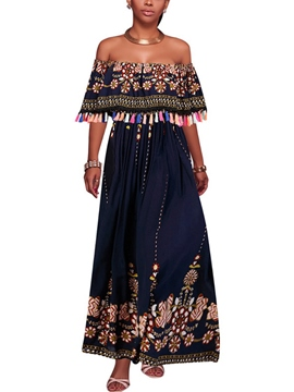 ericdress Slash Neck Quaste drucken afrikanisches Maxi-Kleid