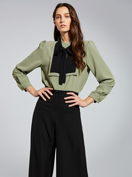 Ericdress Stand Collar Color Block Women's Shirt