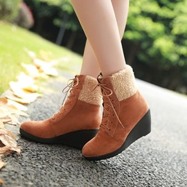 Ericdress Plain Round Toe Wedge Heel Ankle Boots