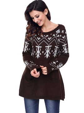 Ericdress Christmas Print Mid-Length Sweater