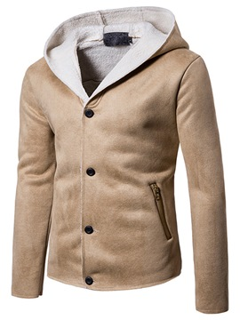 Ericdress Plain Flocking Hooded Men's Jacket