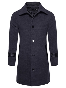 Ericdress PU Patchwork Mid-Length Men's Woolen Coat