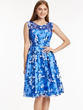 Ericdress Scoop Neck Zipper-Up A Line Cocktail Dresss