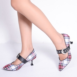 Ericdress Plaid Patchwork Pointed Toe Women's Pumps with Beads