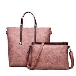 Ericdress Casual Solid Color Zipper PU Handbag (Two Bag Set)