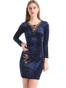 Ericdress V-Neck Embroidery Lace-Up Bodycon Dress