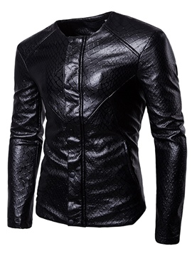 Ericdress Plain PU Leather England Men's Slim Jacket