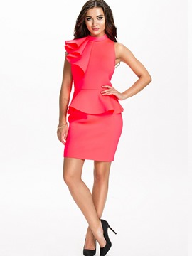 Ericdress Ruffle Stand Collar Plain Bodycon Dress
