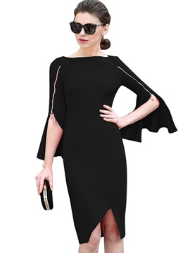 Ericdress Slash Neck Flare Sleeve Plain Zipper Sheath Dress