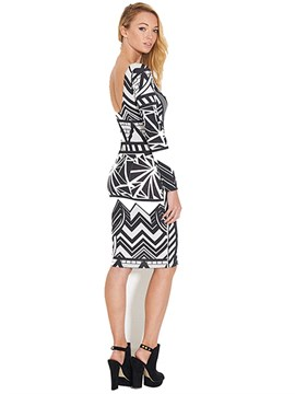 Ericdress Print Backless Color Block Bodycon Dress