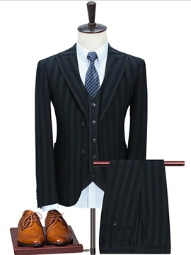 Ericdress Notched Lapel Stripe Fit Men's Suit