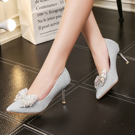 Ericdress Rhinestone Low-Cut Plain Stiletto Heel Pumps