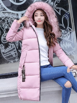 Ericdress Plain Hooded Mid-Length Puffer Coat