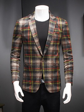 Ericdress Plaid One Button Men's Blazer