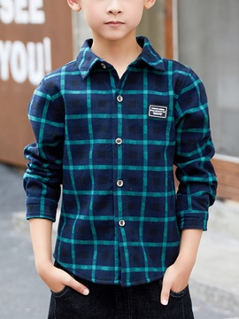 Ericdress Plaid Lapel Single-Breasted Boy's Shirt