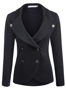 Ericdress Slim Double-Breasted Plain Blazer
