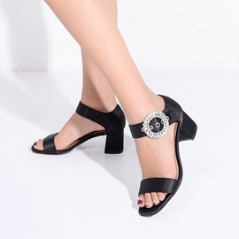 Ericdress Rhinestone Plain Low-Cut Chunky Sandals