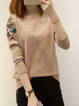 Ericdress Floral Embroidery Pullover Sing Knitwear