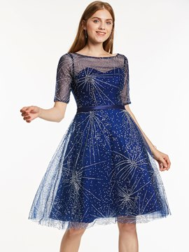 Ericdress Beaded A Line Knee-Length Cocktail Dress