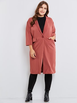 Ericdress Plus-Size One Button Long Blazer