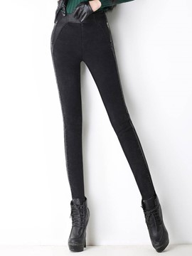 Ericdress Fleece Slim Plain Women's Leggings