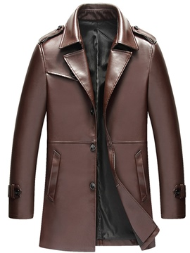 Ericdress Plain PU Leather Men's Trench Coat