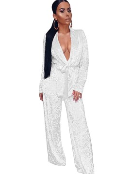 Ericdress Lace-Up Jacket and Pants Women's Suit
