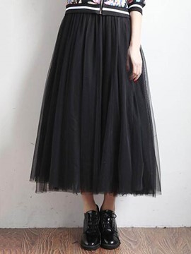 Ericdress Mesh Plain Women's Skirt