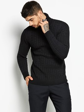 Ericdress Plain Jacquard Turtle Neck Men's Sweater