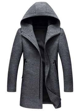 Ericdress Hooded Solid Color Mid-Length Men's Trench Coat
