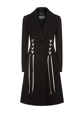 Ericdress Plain A Line Lace-Up Mid-Length Coat