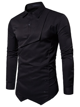 Ericdress Plain Long Sleeve Unique Men's Shirt
