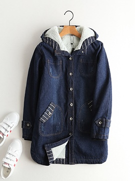 Ericdress Thick Single-Breasted Hooded Denim Coat