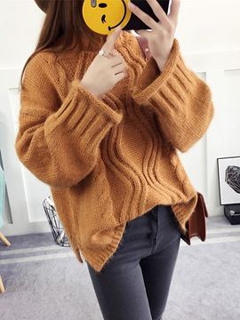 Ericdress Plain High Neck Oversized Sweater