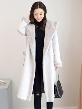 Ericdress Plain Hidden Button Long Thick Coat