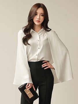 Ericdress Plain Single-Breasted Caped Blouse