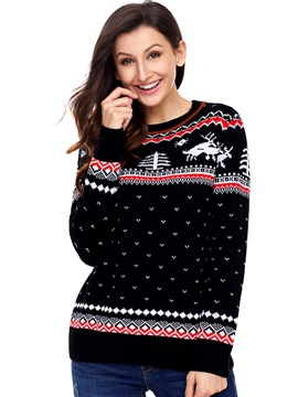 Ericdress Christmas Tree Print Sweater