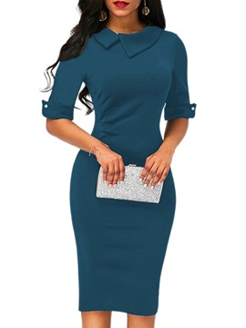 Ericdress Lapel Asymmetrical Half Sleeve Bodycon Dress