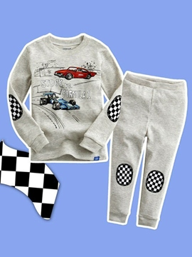 Ericdress Gray Car Print Plaid Boy's 2-Pcs Outfit