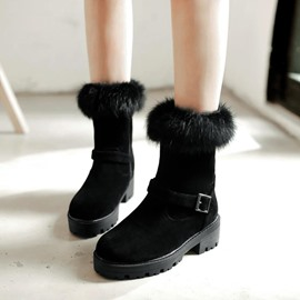 Ericdress Fuzzy Buckle Plain Women's Snow Boots